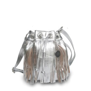 metallic fringe bucket bag