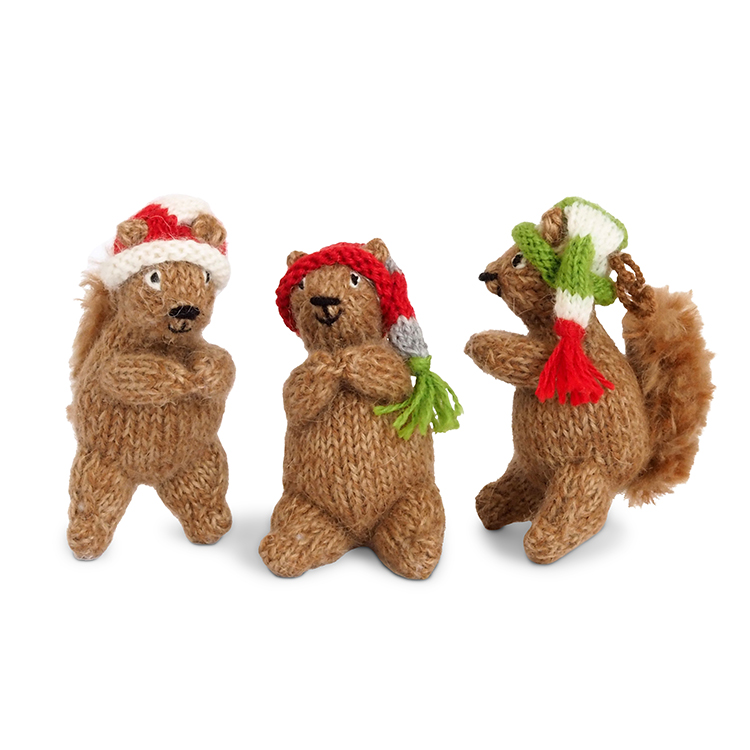 Woodland squirrel ornaments - set 3