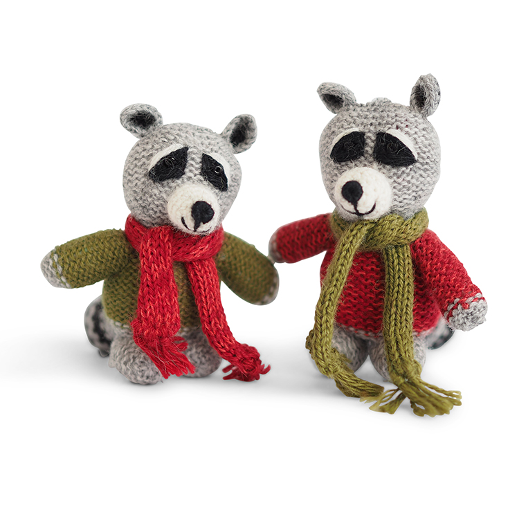 Raccoon Knitted Ornaments - set Three