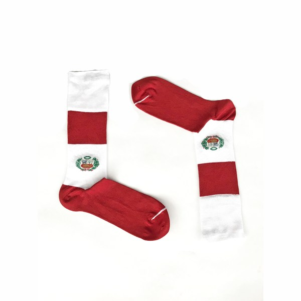 Peru Flag Socks Red & White Peruvian Pima Cotton