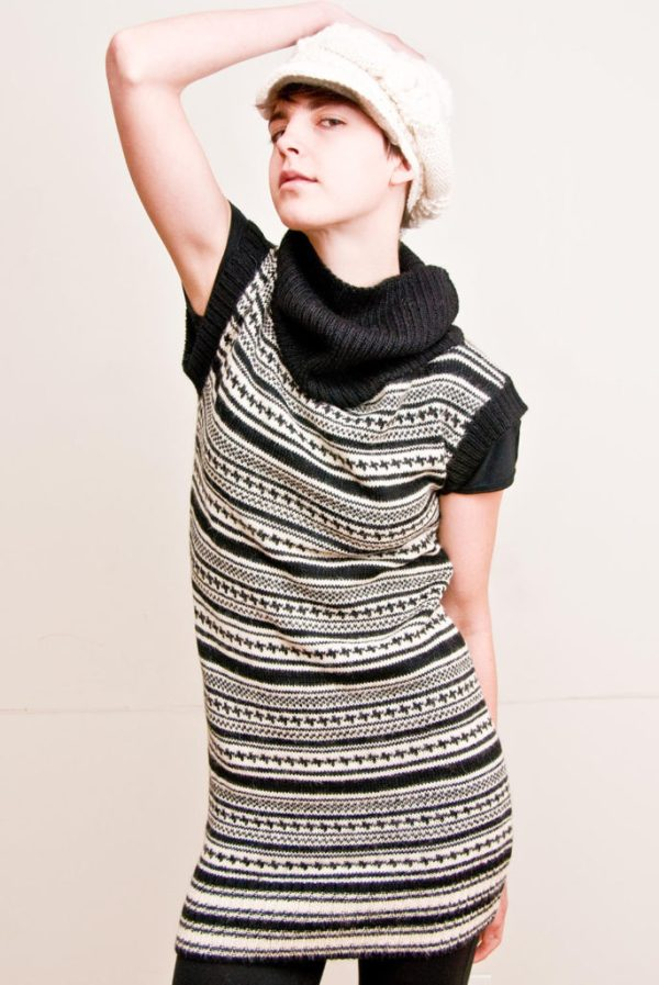 Black & White Geometric Stripes Sweater Dress Alpaca