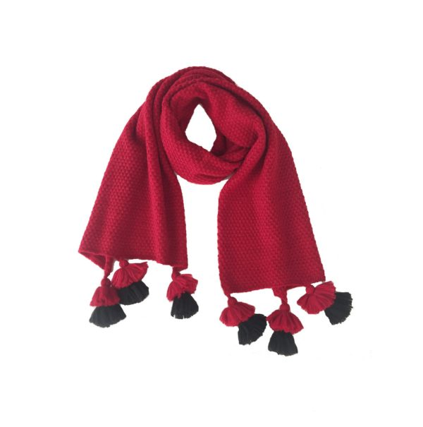 Tassels Scarf Alpaca cool Red