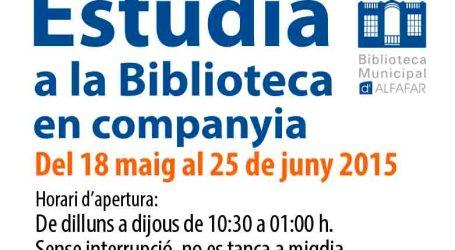 La Biblioteca de Alfafar abre sus puertas de 10.30 horas a 01.00 de la madrugada de lunes a jueves