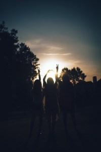 silhouette, girls, dusk