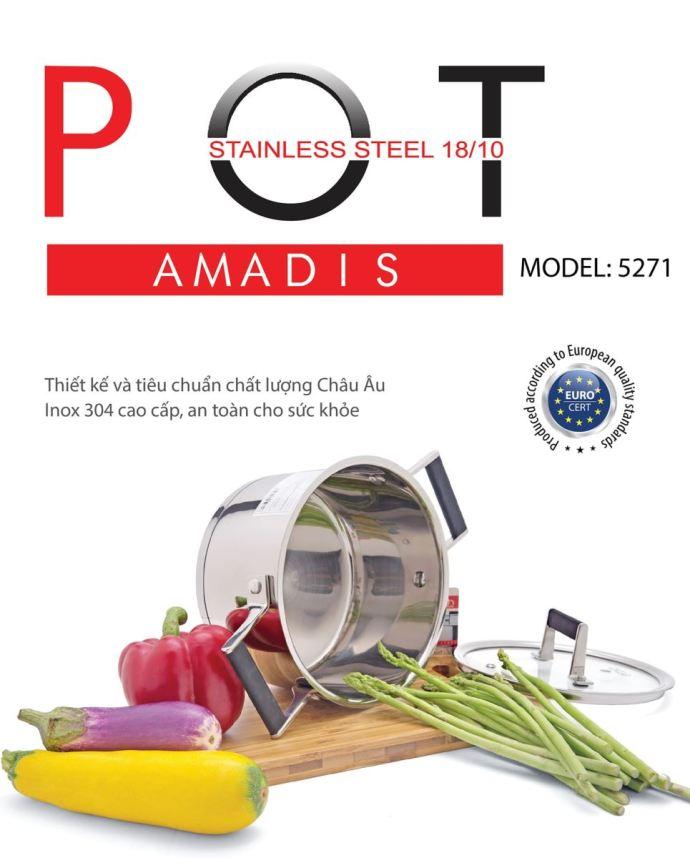 Nồi Inox Elmich Amadis 18cm chất liệu inox 304 an toàn cho sức khỏe