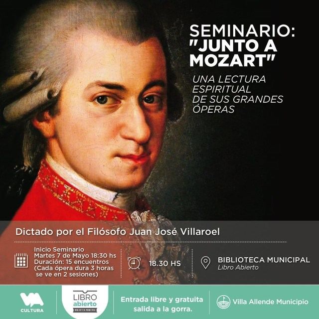 Realizarán un seminario gratuito sobre las obras de Mozart en Villa Allende 2