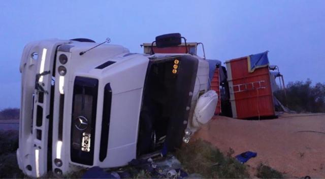 """Un camión volcó en la """"curva de Tinoco"""", estaba cargado de maíz 3"""