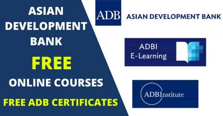 كورسات بنك التنمية الآسيوي المجانية عبر الإنترنت مع شهادات مجانية