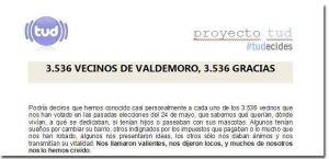 Fragmento de la carta de agradecimiento del TUD, de Valdemoro.