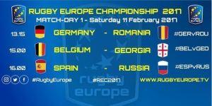 Primera jornada del Campeonato Europeo de Rugby, sábado, 11 de febrero de 2017