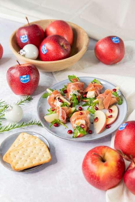 receta manzanas jamón brie y rúcula