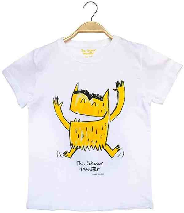 camiseta del monstruo de colores amarillo