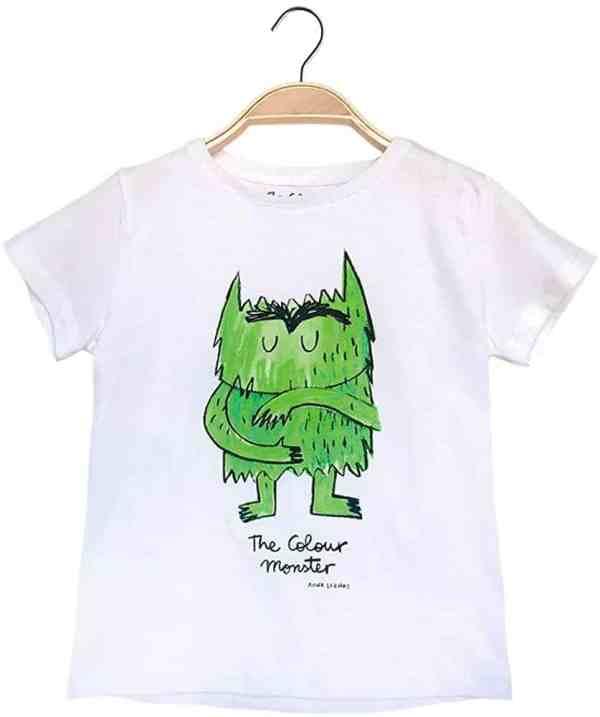 camiseta del monstruo de colores verde