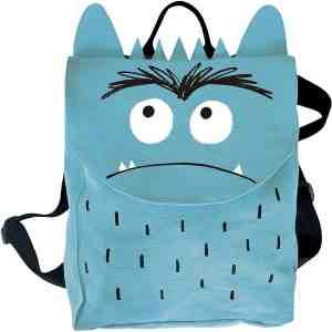 mochila del monstruo de colores azul