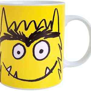 taza de monstruo de colores amarillo
