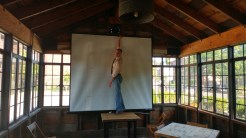 Jim Demko helps set up our Summer Double-Feature