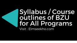 Syllabus-Course outlines of BZU for all programs