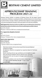 Bestway Cement Apprenticeship for Matric, F.Sc and DAEs