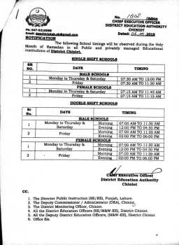 Revised SED Ramzan School Timing for Holy Month