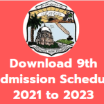 Download 9th Admission Schedule 2021 to 2023