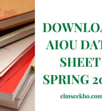 Download AIOU Date Sheet Spring 2021