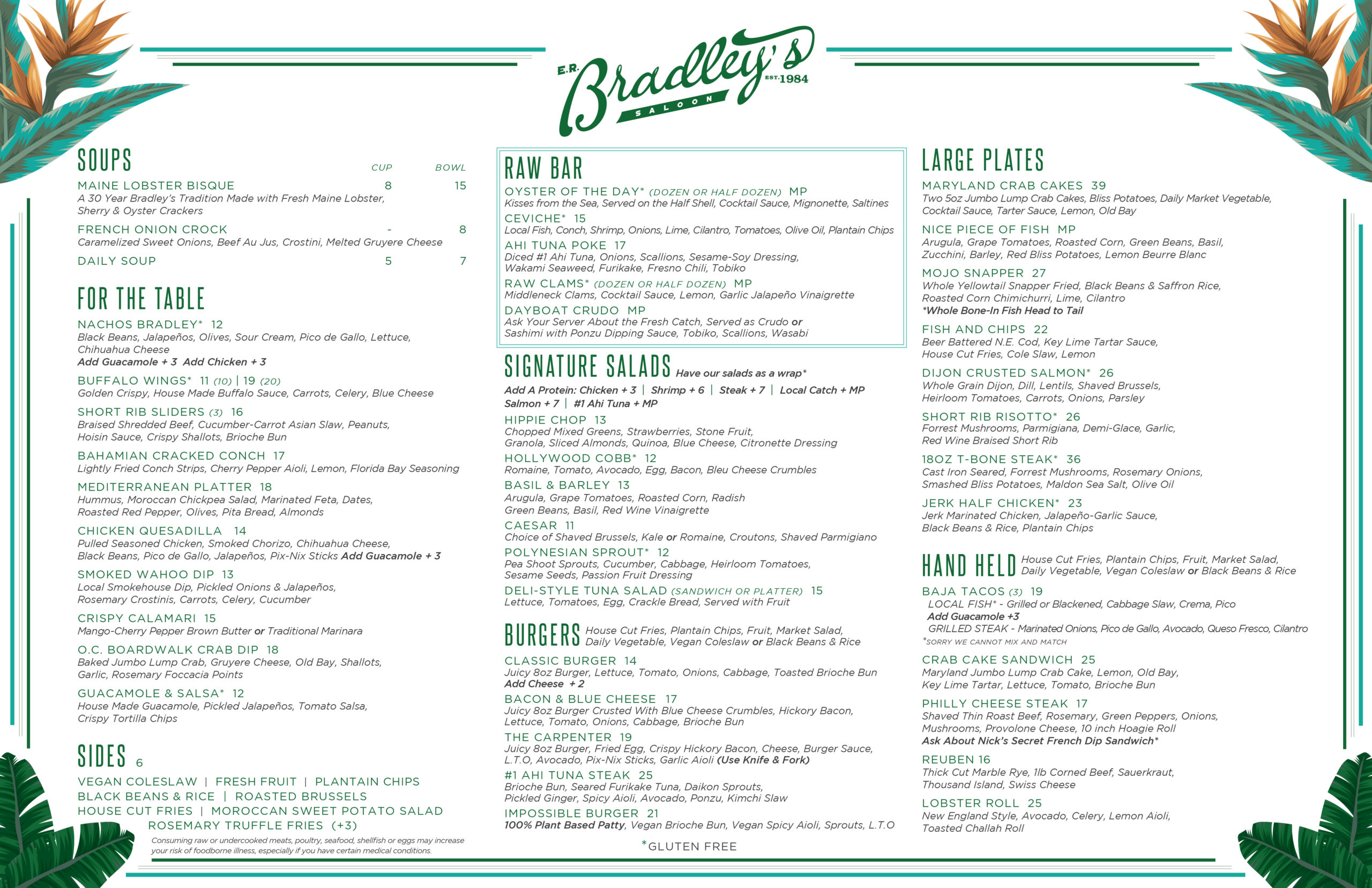 er bradleys menu designed by nicole david