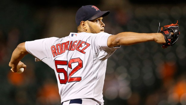 Boston Red Sox starting pitcher Eduardo Rodriguez throws to the Baltimore Orioles in the fifth inning of a baseball game, Monday, Sept. 14, 2015, in Baltimore. (AP Photo/Patrick Semansky)