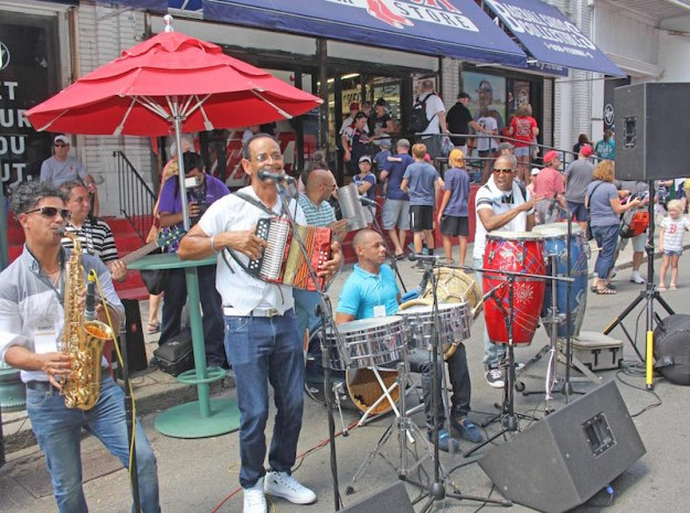 Live Music: Traditional Dominican music on Yawkey Way, courtesy of the Santos Peña band.