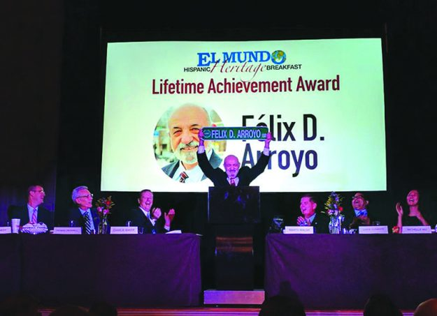 ➥➥ A picture worth a thousand words. Felix D. Arroyo celebrating his award for his more than 40 years of service and legacy in Massachusetts.