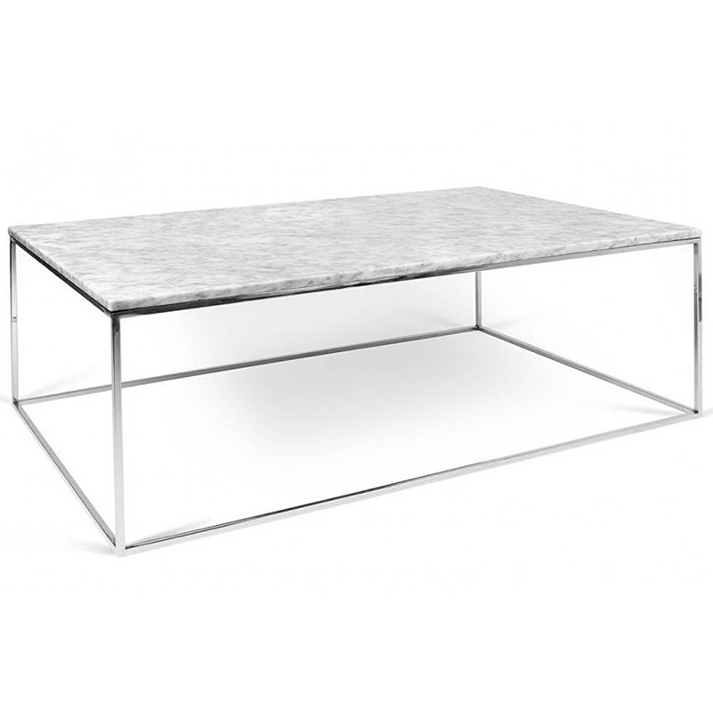 tema home table basse rectangulaire gleam 120 plateau en marbre blanc structure chromee