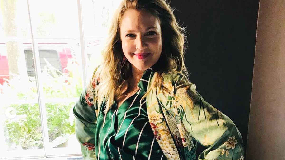 Drew Barrymore en México, con el kimono que le regaló Marisol Herrera, nuestra colaboradora.