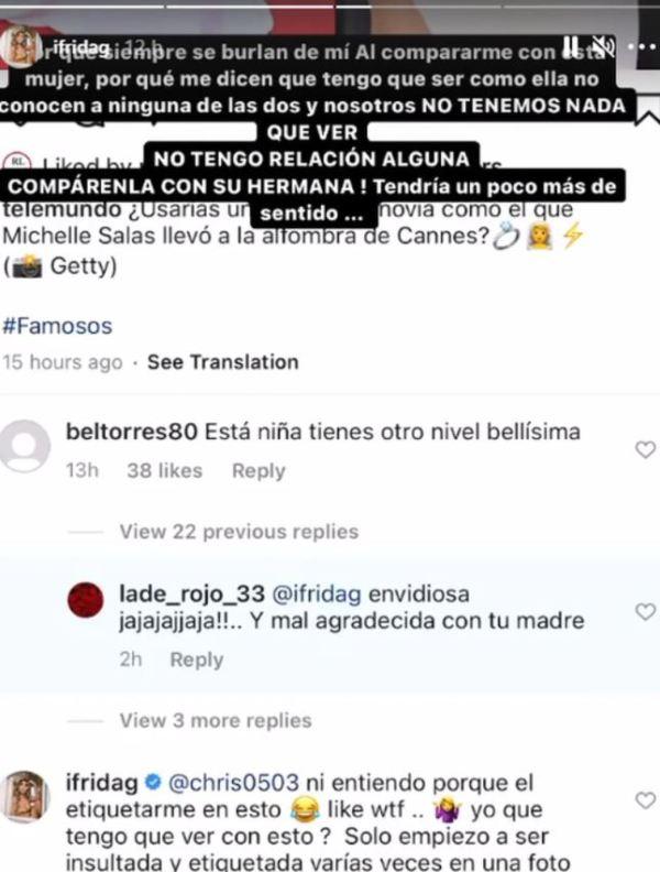 respuesta Frida Sofia en Instagram