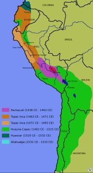 Mapa de la expansión inca a lo largo de los años