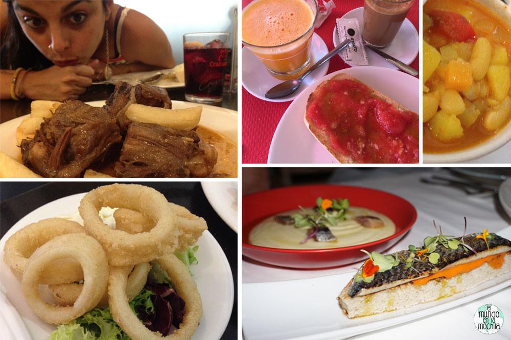 Cuatro fotos de comida andaluza, rabo de toro, pa amb tomaca, calamares
