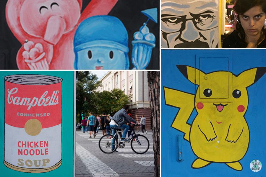 Composición de arte urbano pop de Tirana, Albania