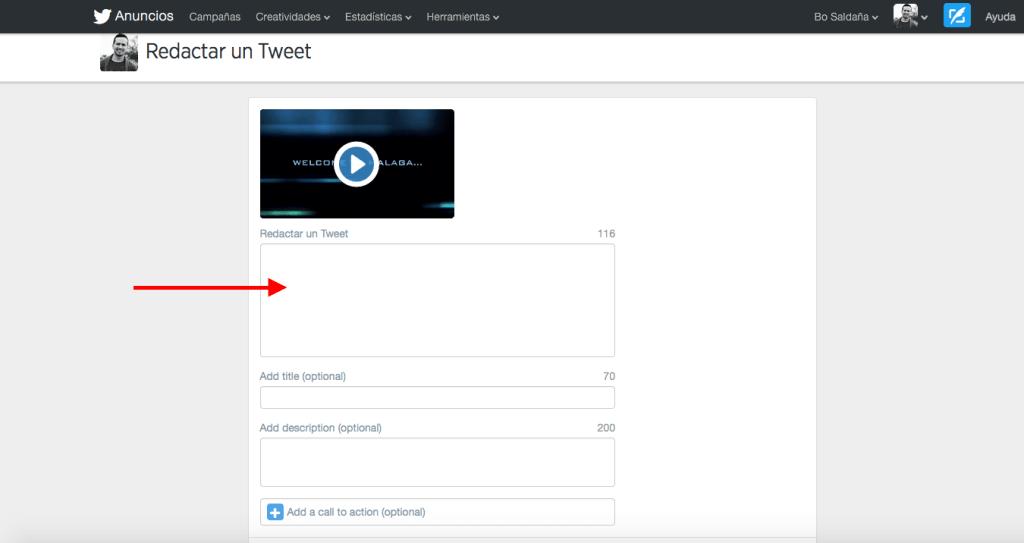 Paso 6.2. Subir un video a Twitter de más de 30 segundos.
