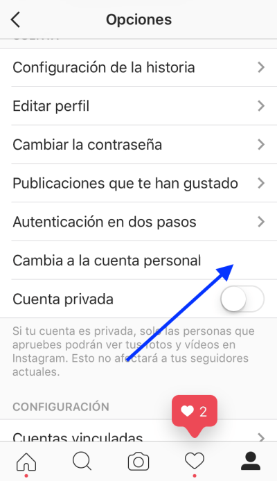 Instagram for business cambiar a cuenta personal