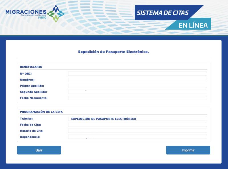 Fin de proceso pasaporte electrónico peruano.