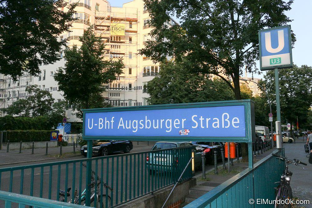 U-Bhf Augsburger Strasse. La calle donde está el hotel.