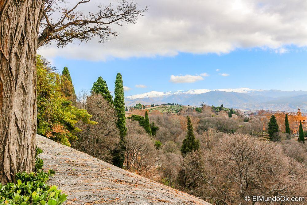 Vistas de Sierra Nevada desde la Alhambra. Visitar la Alhambra.