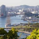 Vistas de la bahía de Nagasaki desde los jardines Glover en Nagasaki