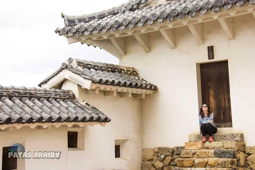 Candela flipando con el castillo de Himeji