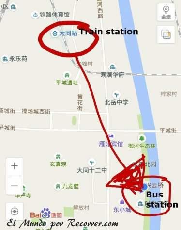Localización de la terminal de autobuses en Datong