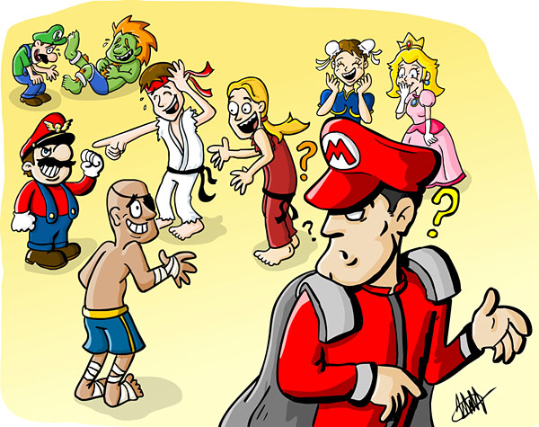 Mario and M Bison switch hats