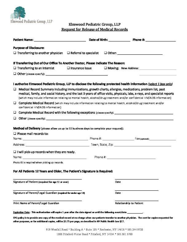 release of records form copy elmwood pediatrics