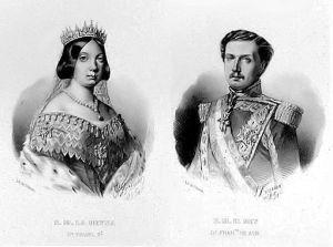 Grabado de Isabel II y Francisco de Asís