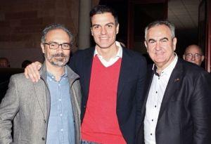 José Moreno, con Pedro Sánchez y González Tovar