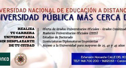 La UNED, con sede en Caravaca, abre el plazo de admisión hasta el 25 de octubre