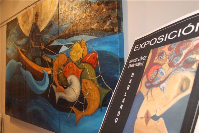 Manuel López expone su obra «Hablando con la pintura» en la sala de exposiciones de la Casa de Cultura de Bullas