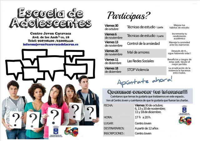 El Ayuntamiento de Caravaca imparte la primera 'Escuela de Adolescentes' con talleres gratuitos durante el curso